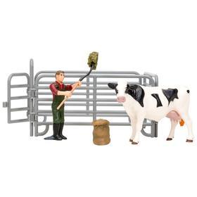 Набор фигурок, 6 предметов: фермер, корова, ограждение-загон, инвентарь