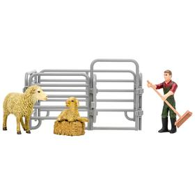 Набор фигурок, 6 предметов: фермер, 2 овцы, ограждение-загон, инвентарь