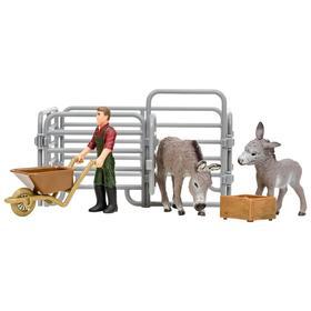 Набор фигурок, 6 предметов: фермер, 2 ослика, ограждение-загон, инвентарь