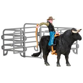 Набор фигурок, 3 предмета: ковбой, бык, ограждение-загон