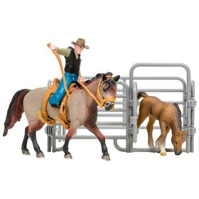 Набор фигурок: Американская лошадь и жеребенок, наездник, ограждение-загон, инвентарь