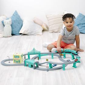 Железная дорога для детей «Мой город», 92 предмета, на батарейках, со звуком