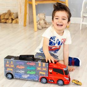 Автовоз - кейс 51,5 см, красный, с тоннелем, 6 машинок и 10 дорожных знаков