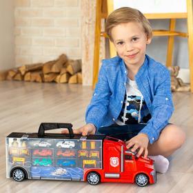 Автовоз - кейс 54 см, красный, с тоннелем, 6 машинок и 10 дорожных знаков