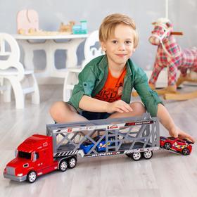 Автовоз - тягач 66 см, красный,2 гоночные машины