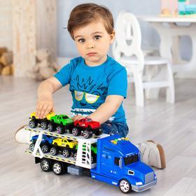Автовоз - тягач 50 см, свет/звук, синий, 6 машин - пикапов