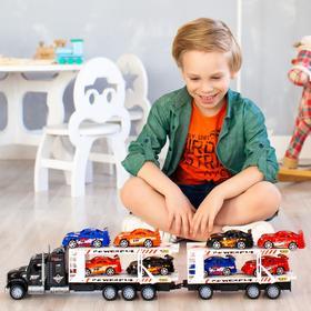 Автовоз - тягач с прицепом 64 см, чёрный, 8 гоночных машин
