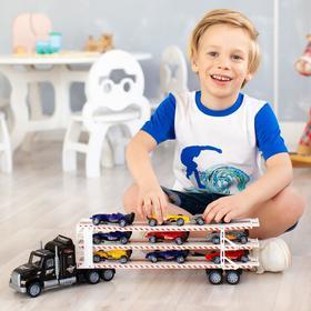 Автовоз - тягач трёхуровневый 64 см, чёрный, 8 гоночных машин