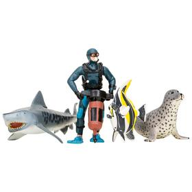 Набор фигурок: акула, тюлень, мавританский идол, дайвер, 4 предмета