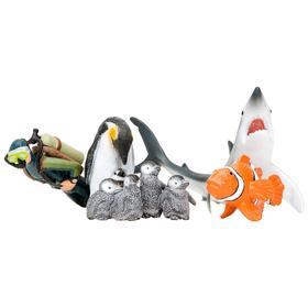 Набор фигурок: акула, рыба-клоун, пингвин и пингвинята, дайвер, 5 предметов