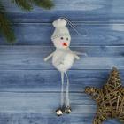 """Мягкая подвеска """"Снеговик - ножки бубенчики 12 см белый"""