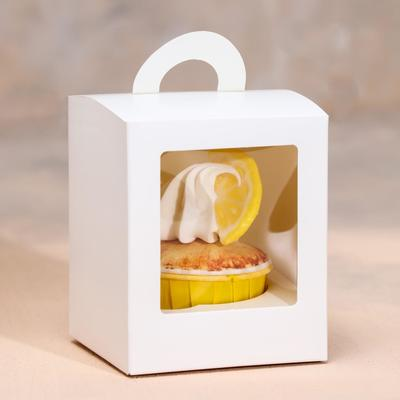 Упаковка под один капкейк с окном, белая, 9,2 х 9,2 х 11,1 см - Фото 1