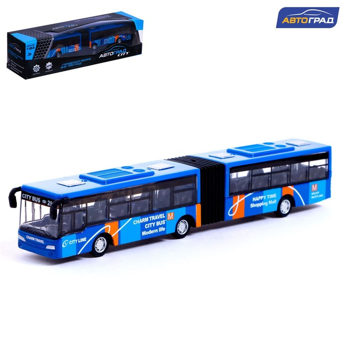 Автобус металлический «Городской транспорт», инерционный, масштаб 1:64, цвет синий