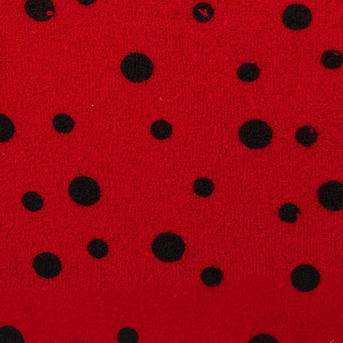 Велюр на красном фоне черные божьи коровки, ширина 180 см
