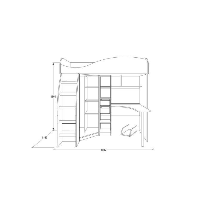 Двухъярусная кровать «Омега 9», 800 × 1900 мм, ЛДСП / МДФ, цвет млечный дуб / фиолет