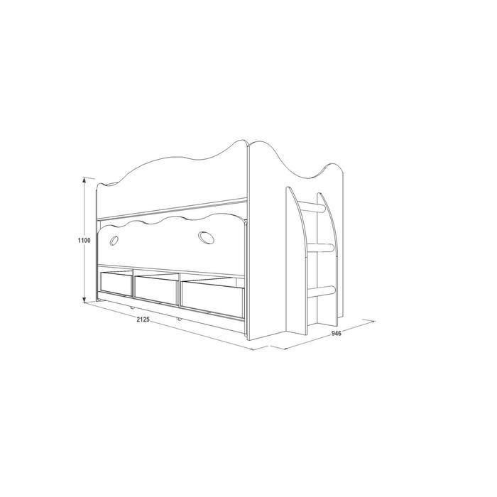 Двухъярусная кровать «Омега 10», ЛДСП / МДФ, цвет млечный дуб / салатовая шагрень