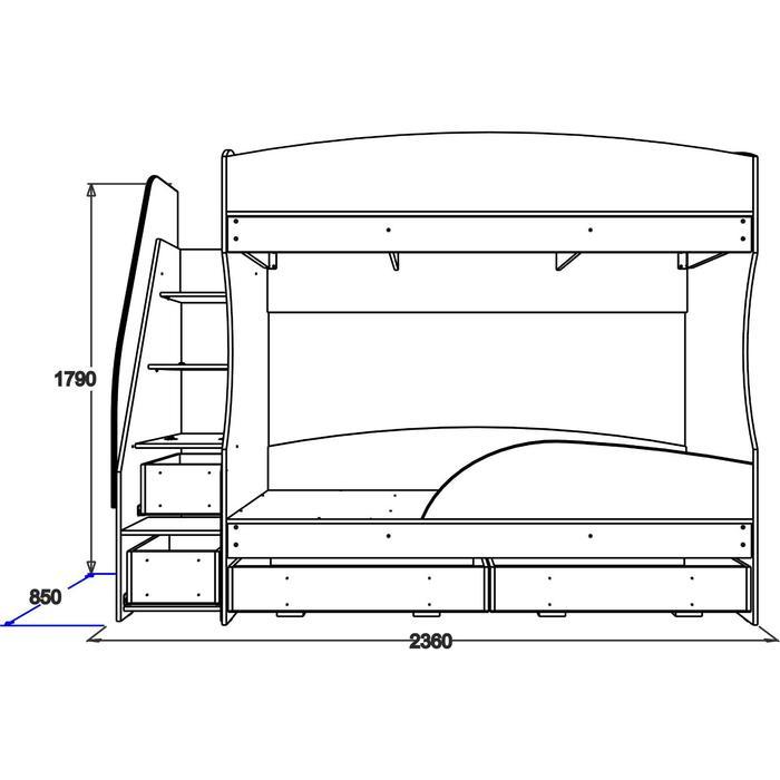 Двухъярусная кровать «Омега 15», 800 × 1900 мм, ЛДСП, цвет млечный дуб / фисташковый