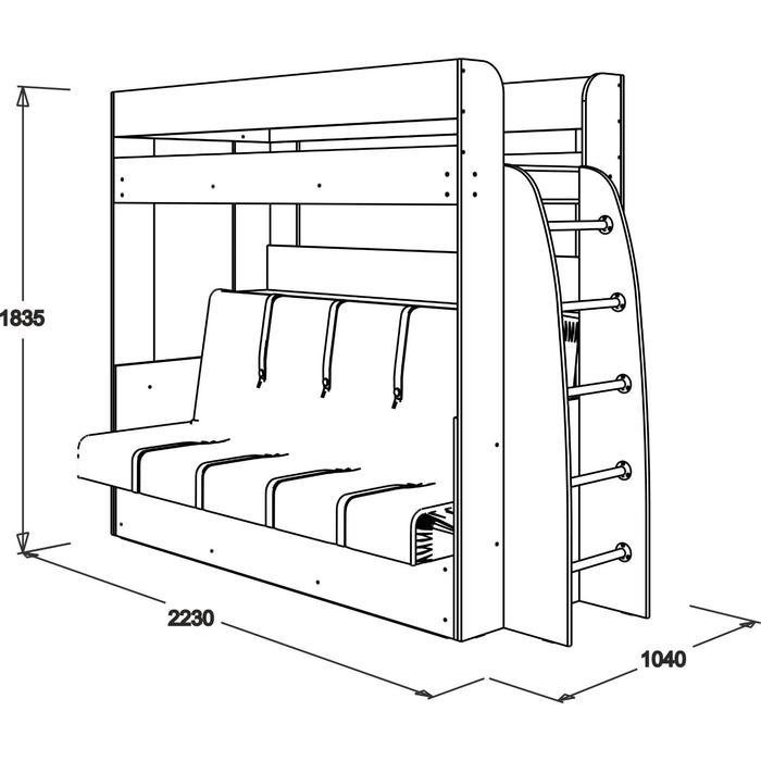 Кровать-диван двухъярусная «Омега 17», 800 × 1900 мм, 1100 × 1900 мм, ясень анкор светлый