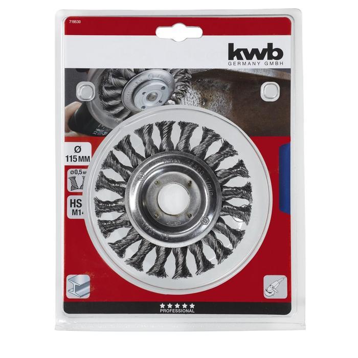 Щетка плоская KWB,  d=115 мм, проволока витая d=0.5, отверстие d=22 мм под УШМ, сталь HSS