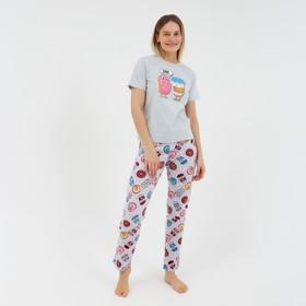 Костюм женский «Пончики» (футболка, брюки), цвет серый, размер 44