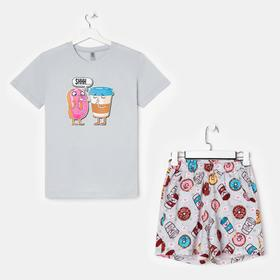 Костюм женский «Пончики» (футболка, шорты), цвет серый, размер 42