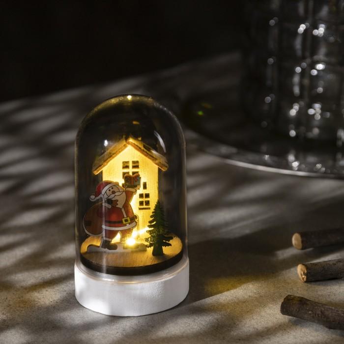 Фигура световая под куполом Дед мороз, 6х6х9.5, LR1130, ТЁПЛОЕ БЕЛОЕ