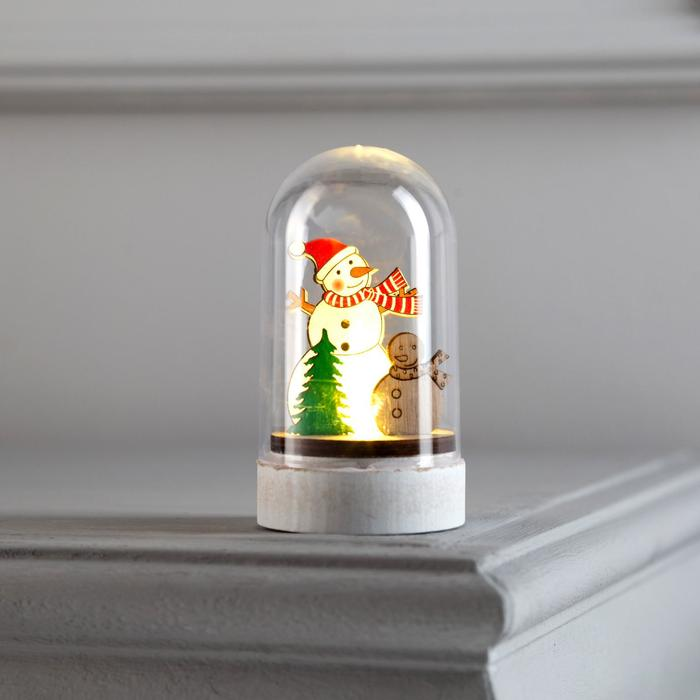 Фигура световая под куполом Снеговик и снеговичек, 6х6х9.5, LR1130, ТЁПЛОЕ БЕЛОЕ