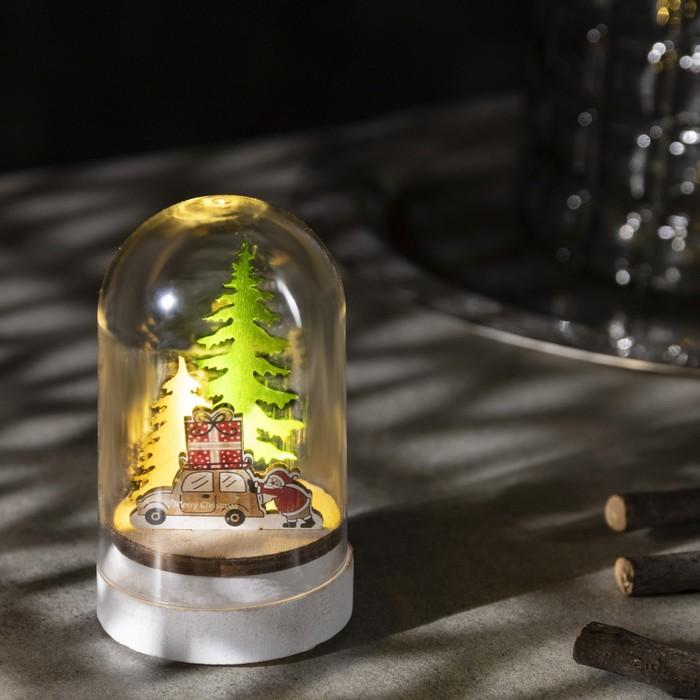 Фигура световая под куполом Машина с подарками, 6х6х9.5, LR1130, ТЁПЛОЕ БЕЛОЕ