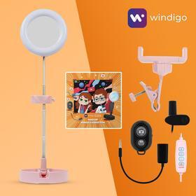 Набор Юного Блогера Windigo KIDS CB-98, лампа на штативе, микрофон, пульт, линзы,СЗУ,розовый Ош