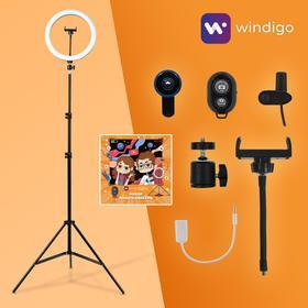 Набор Юного Блогера Windigo KIDS CB-97, кольцевая лампа, штатив, микрофон, пульт, линзы Ош
