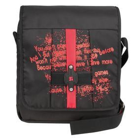 Сумка молодежная, молния, цвет черно-красный 285x325x100