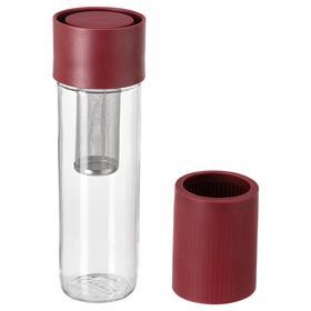 Дорожная кружка ЭФТРЕСТРЭВА, прозрачное стекло/силикон, 500 мл, цвет тёмно-красный
