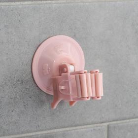 Держатель для уборочного инвентаря на вакуумной присоске, 5,5×5,5×7 см, цвет МИКС Ош