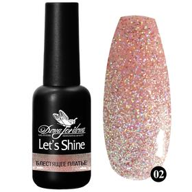 """Гель-лак с голографическим мерцанием """"Let's Shine"""", Dona Jerdona, """"Блестящее платье"""", №02"""