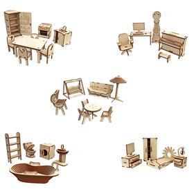Большой набор кукольной мебели из дерева Premium