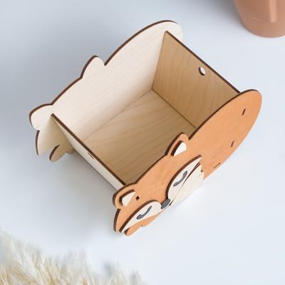 "Кашпо деревянное для цветов ""Лисичка"", оранжевый, 21,1х9,4х13,5 см - Фото 1"