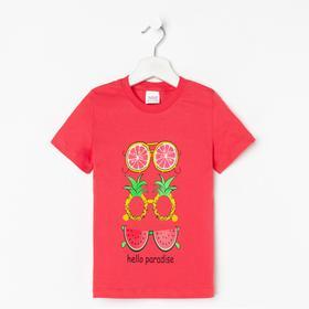 Футболка для девочки, цвет красный, рост 98-104 см