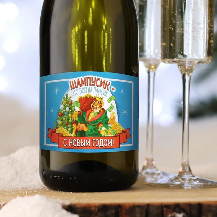 Наклейка на бутылку Шампусик-всегда плюсик с символом года 2022, 12х8 см