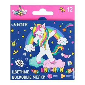 Мелки восковые 12 цветов deVENTE Magic Unicorn, в картонной коробке с подвесом