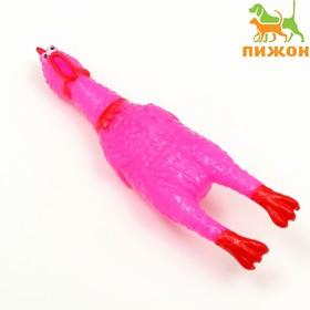 Игрушка пищащая 'Курица' малая для собак, 16,5 см, ярко-розовая Ош