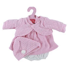 Платье вязаное розовое в белую крапинку, для кукол высотой 33см