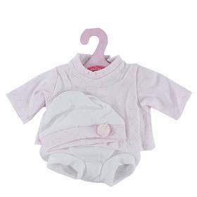 Комплект розовый с белой шапочкой, для кукол высотой 33см