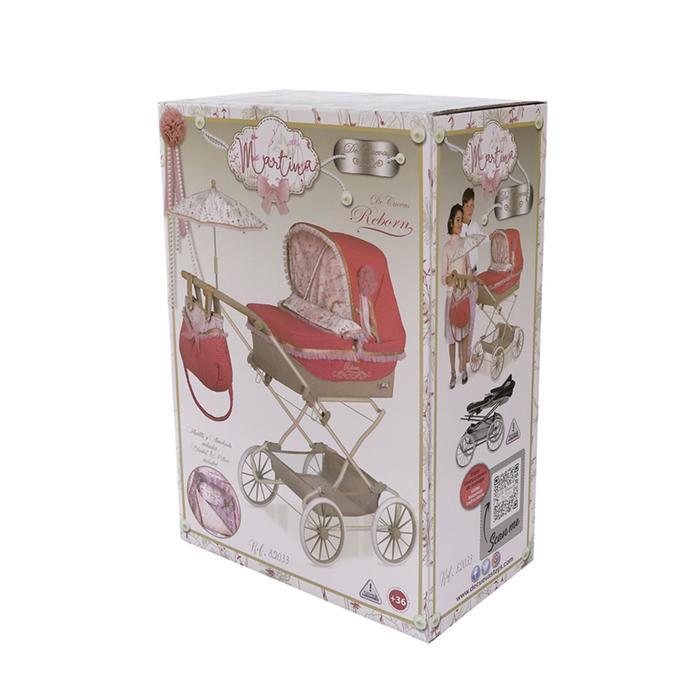 Коляска с сумкой и зонтиком для кукол REBORN серии Мартина, 90 см