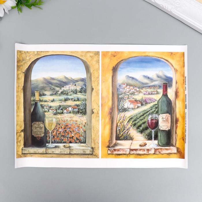 """Декупажная карта """"Вино"""" плотность 45 г/м2, формат А4"""