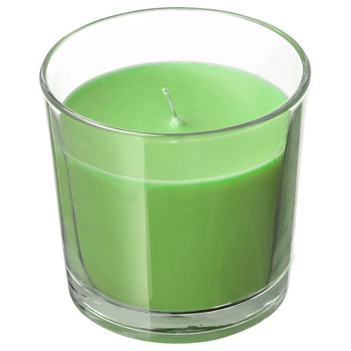 Ароматическая свеча в стакане СИНЛИГ, яблоко и груша, 9 см, цвет зелёный