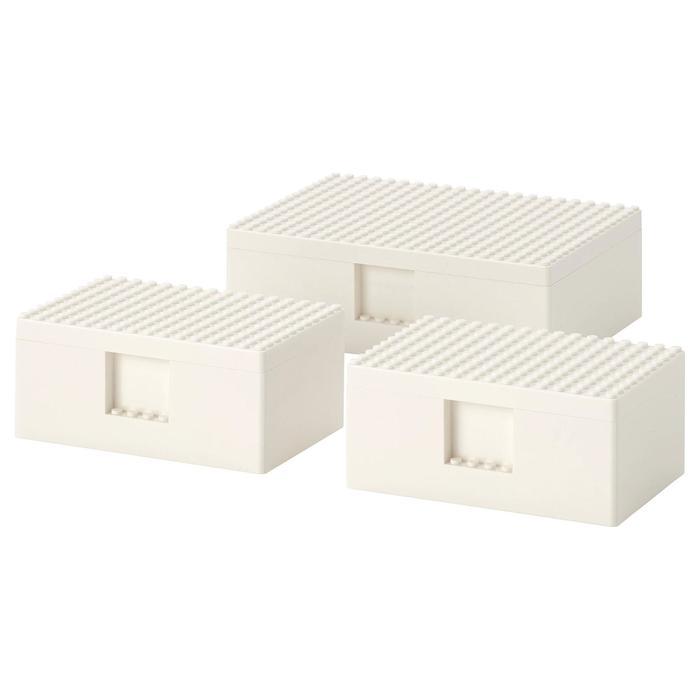 LEGO® контейнер с крышкой БЮГГЛЕК, 3 шт, цвет белый