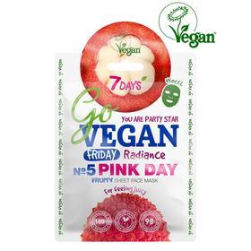 Тканевая fruity маска для лица 7 DAYS GO VEGAN Friday PINK DAY, 25 г