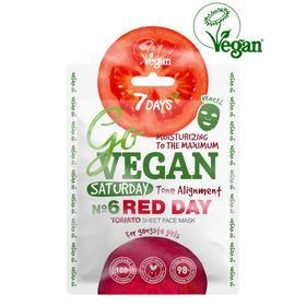 Тканевая tomatos маска для лица 7 DAYS GO VEGAN Saturday RED DAY, 25 г