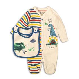 Комбинезон для мальчика , размер 6-9 месяцев, белый принт