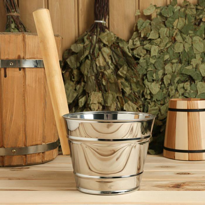 Ковш для обливания, металлический, с деревянной ручкой, 2 литра